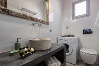 apartment with sea view to kyma bathroom amenities