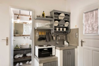 apartment with sea view to kyma equipped kitchen